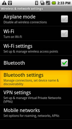 Bluetooth Settings