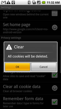 Confirm clear cookies