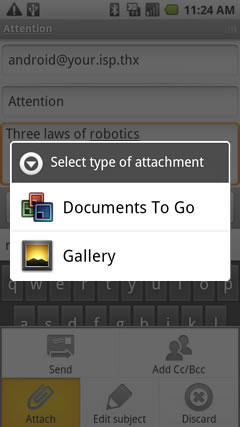Gmail attachment type