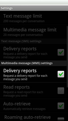 MMS delivery reports
