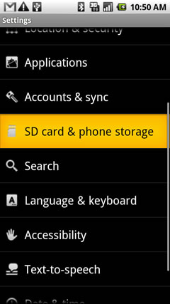 SD card & phone storage