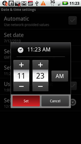 Adjust time then set