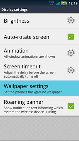 Display settings with Wallpaper settings