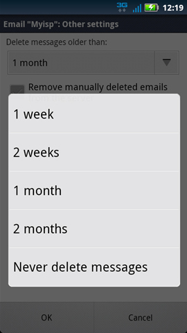 Delete message older than with available settings