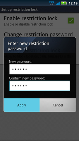 Enter new restriction password with Apply