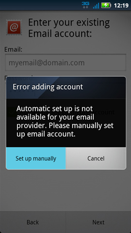 Error adding account with Set up manually