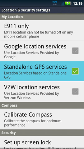 Location & security settings with Standalone GPS services