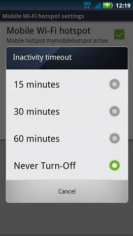 Inactivity timeout with available options