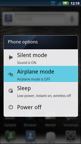 Phone options with Airplane mode