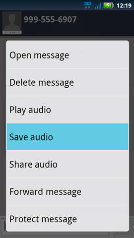 Attachment options with Save audio