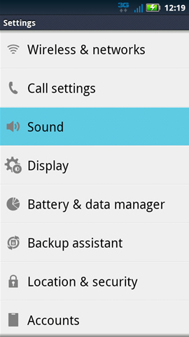 Settings with Sound