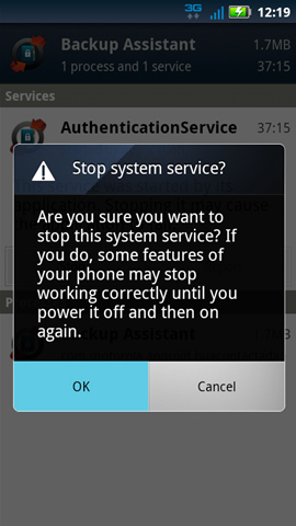 Stop system service with OK