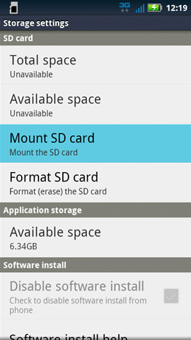 SD card & phone storage settings with Mount SD card