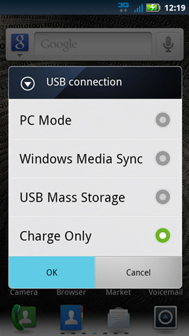 USB Connection with available options
