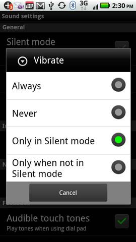 Seleccionar el modo vibratorio
