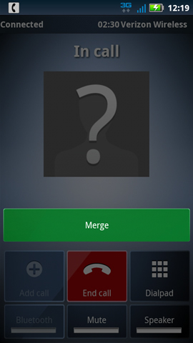 Call connected screen with Merge