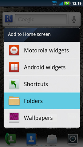 Add to Home screen with available options