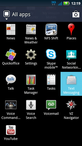 Applications tab with Text messaging