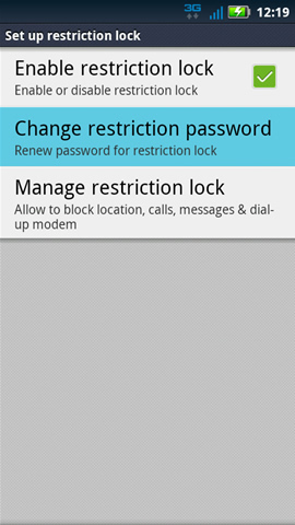 Set up restriction lock with Change restriction password