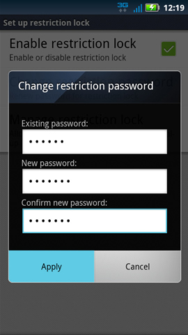 Change restriction password with Apply