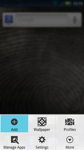 Menú de la pantalla de inicio y Add