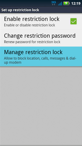 Set up restriction lock with Manage restriction lock