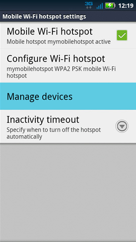 Mobile Wi-Fi hotspot settings with Manage devices