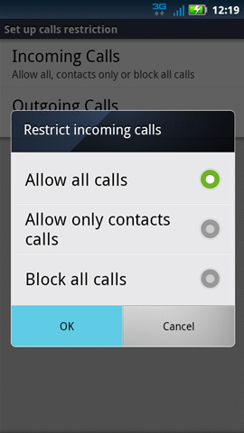Restrict calls with OK