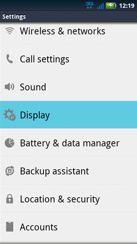 Settings with Display