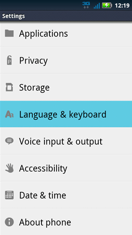 Settings con Language & keyboard