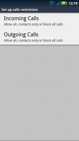 Set up calls restriction with available options