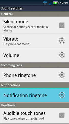 Sound settings with Notification ringtone