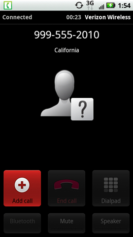 Call connected screen Add call