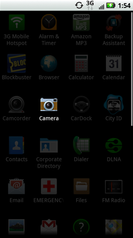 Applications tab with Camera