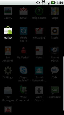 Applications menu with Market