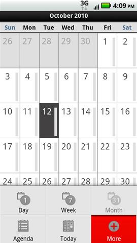 Menú del calendario con más opciones