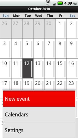 Menú del calendario con evento nuevo