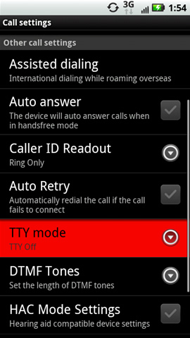 Call settings with TTY mode