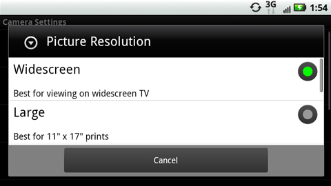 Picture Resolution with available options