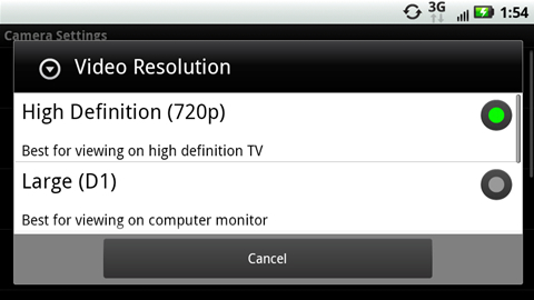 Video Resolution with available options