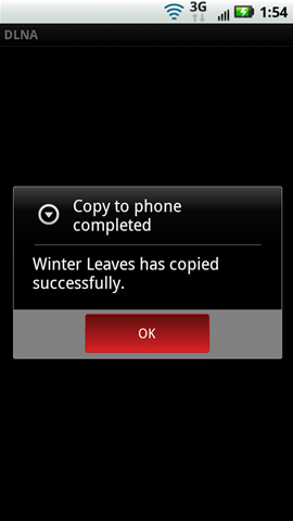 Copy to phone completed prompt with OK