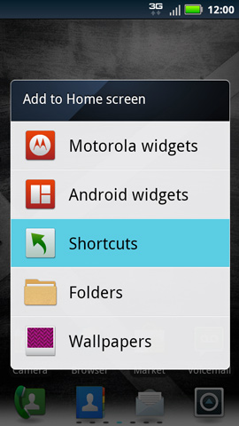 Add to Home screen, Shortcuts