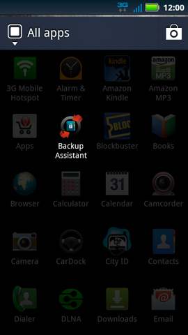 Applications menu with Backup Assistant