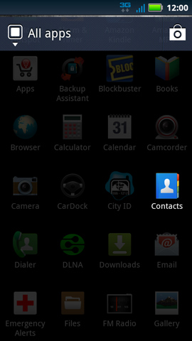 Applications menu with Contacts
