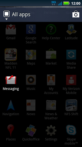 App menu, Messaging