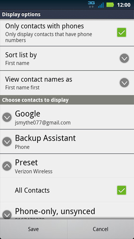 Choose contacts to display
