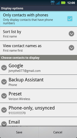 Display options, Only contacts with phones