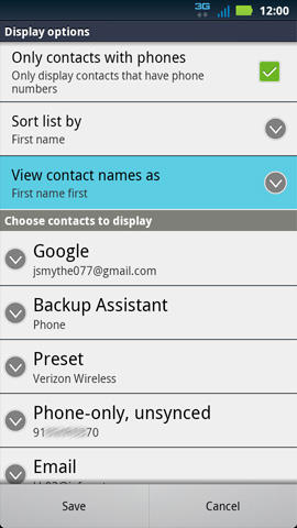 Display options, View contact names as