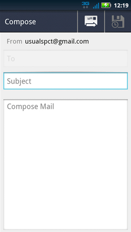 Compose message, Subject field