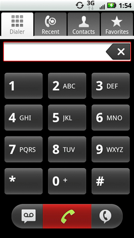 Dialer tab with the phone symbol